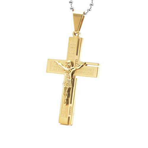 epinki s stainles steel necklace two tone jesus