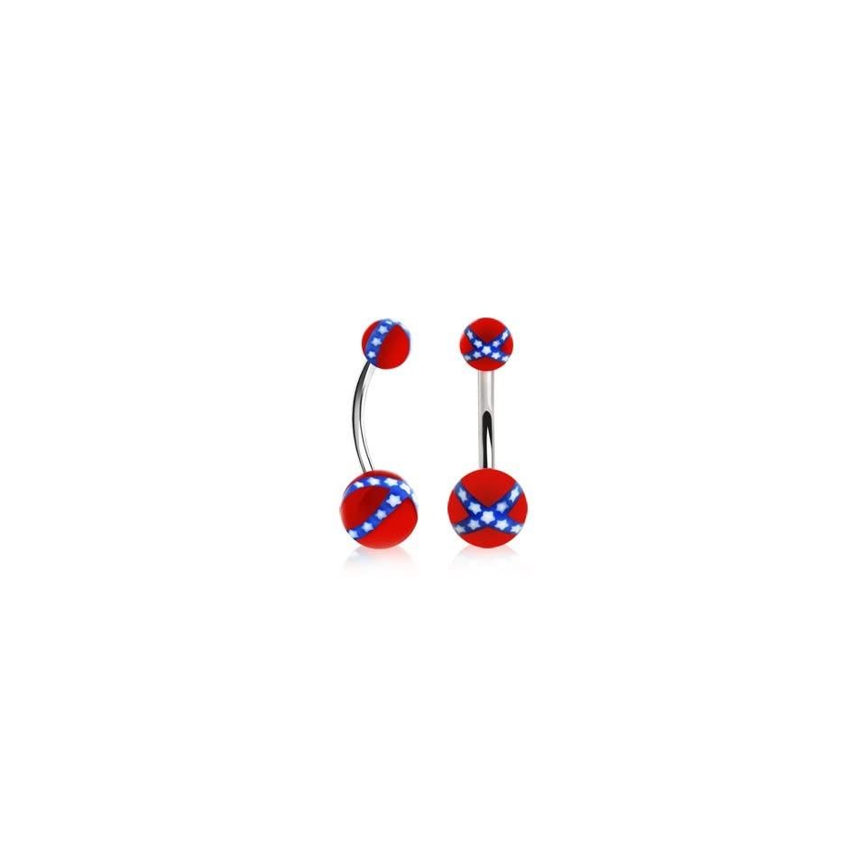 316L Surgical Stainless Steel Belly Button Ring Barbells with Rebel Flag Balls   14G (1.6mm)   3/8 (10mm) Length   5x8mm Ball Sizes   Sold Individually