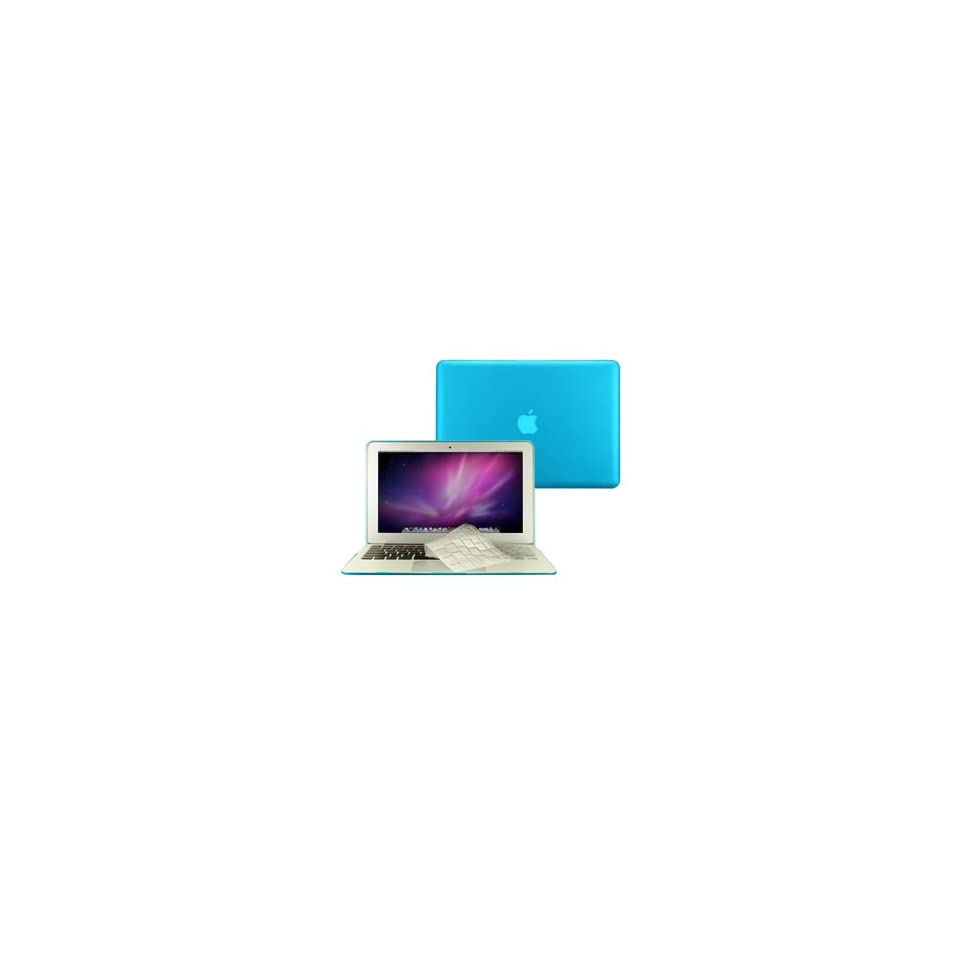 TopCase® 2 in 1 Rubberized AQUA BLUE Hard Case Cover And Transparent TPU Keyboard Cover for Macbook Air 11 (A1370 and A1465) with TopCase Mouse Pad