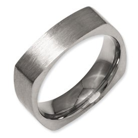 Genuine IceCarats Designer Jewelry Gift Titanium Square 6Mm Satin Band Size 10.50