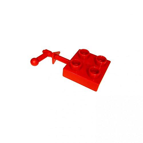 1 x Lego Duplo Kurbel rot 2 x 2 mit Platte Schleuder