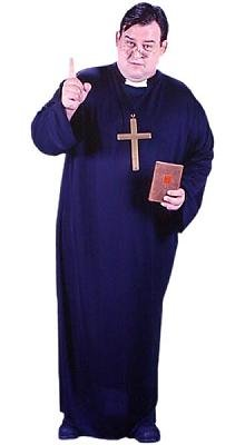 Black Priest Robe Men's Costume Adult Halloween