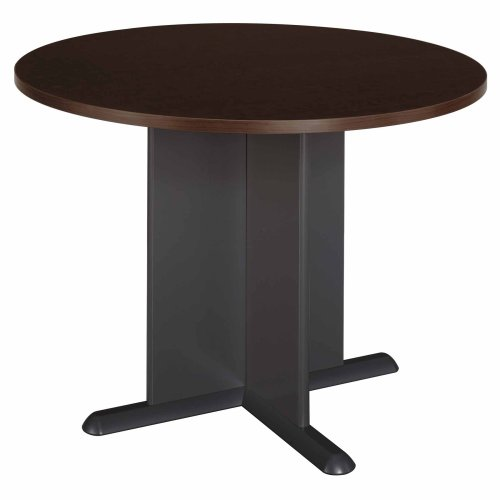 Bush Furniture Round Conference Table, Mocha Cherry