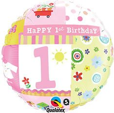 Printed Foil Balloon (18in, round) - 1st Birthday Girl