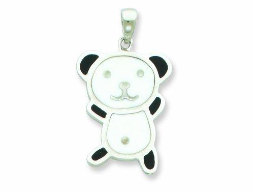 Sterling Silver Resin Panda Bear Pendant - Chain Included LIFETIME WARRANTY