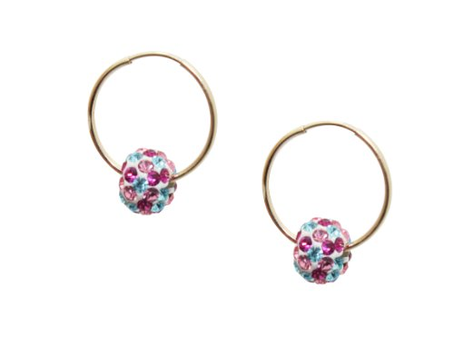 10k Gold Children's 6mm Multi-Color Crystal Slider Hoop Earrings