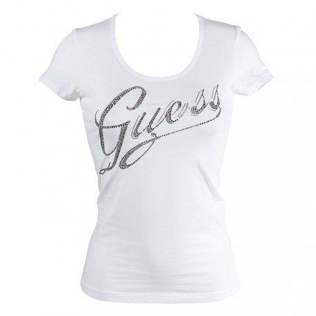 t-shirt-guess-logo-strass-s-blanc