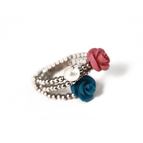 apop nyc Sterling Silver Pearl Pink & Turquoise Rose Stretch Rings Stackable Size 7/8