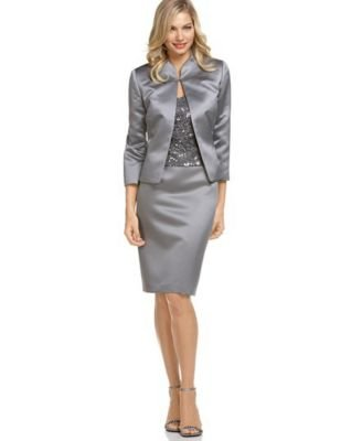 Buy Tahari by ASL Satin Skirt Suit with Sequined Lace Camisole