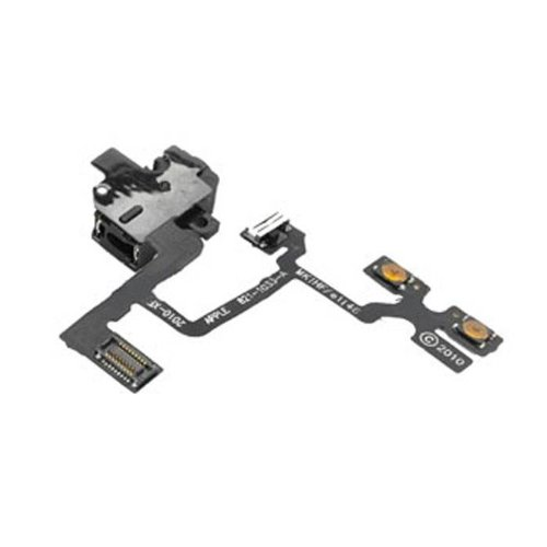 Group Vertical Headphone Jack & Volume Control Cable Assembly Part For Apple Iphone 4 (At&T / Gsm)