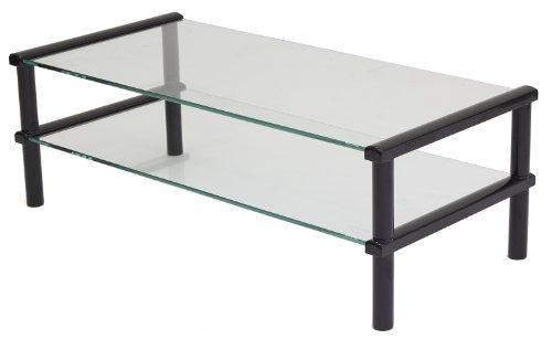 Kit Fernsehtisch, Laptop, PC Monitor Tisch Ständer mit zwei Böden aus Glas - Schwarz