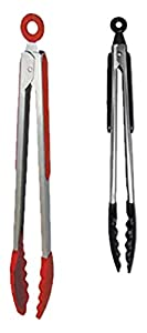 "Silicone and Stainless Steel Locking Tong Set - Red and Black Tongs (10"" and 12"")"