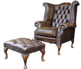 Chesterfield Offer Queen Anne High Back Antique Gold Wing Chair Footstool