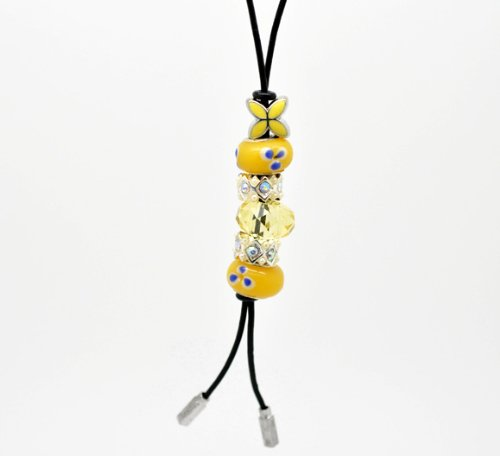 Divine Beads Handmade Real Leather Lariat Charm Necklace Complete With Co-ordinating Yellow Beads fits Pandora, Biagi, Tedora, Chamilia, Bacio, Troll and other European style bracelets