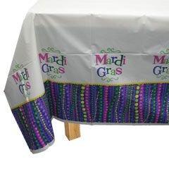Mardi Gras Celebration 54in x 96in Plastic Table Cover