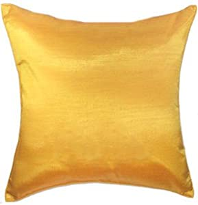 Yellow Silk Decorative Pillows : Amazon.com: Artiwa Solid Yellow Gold Silk Sofa Decorative Throw Pillow Sham Cover 16x16