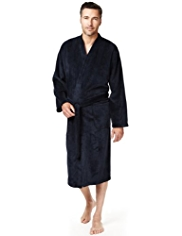 Ribbed Striped Fleece Dressing Gown