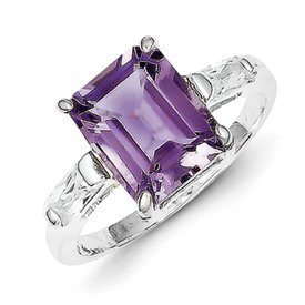 Genuine IceCarats Designer Jewelry Gift Sterling Silver Amethyst Ring Size 6.00