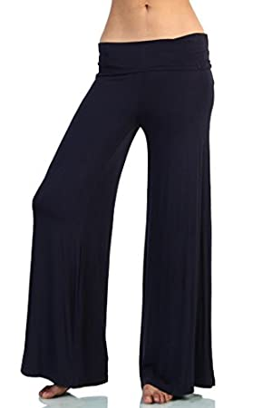 Love Melrose Women's Fold Over Waist Wide Leg Chic Palazzo Lounge Pant Navy M