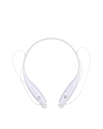 CAY Trading iPM Bluetooth Noise-Canceling Neckband Headset with Built-In Microphone, White