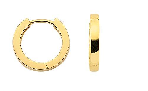 Damen Schmuck 1 Paar Gold Ohrringe / Creolen aus 14 Karat ( 585 ) Gelb Gold ( 2,4 x 15,2 Ø mm ) schenken