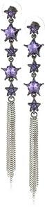 "Betsey Johnson ""Iconic Celestial"" Crystal Heart And Tassel Linear Earrings"