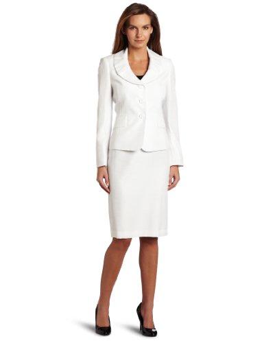 Lesuit Women's Pleated Collar Skirt Suit