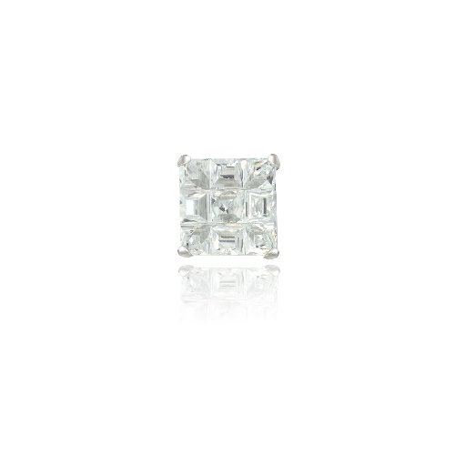 Sterling Silver CZ Checkerboard 7mm Men's Stud Earring
