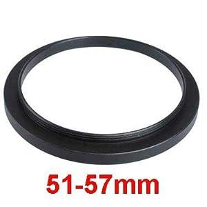Adaptateur Filtre 51mm-57mm Step-Up (Lens pour filtre),Bague d'adaptation 51-57mm,Bague Métal Mesuré en haut Set, Métal Noir Anodisé