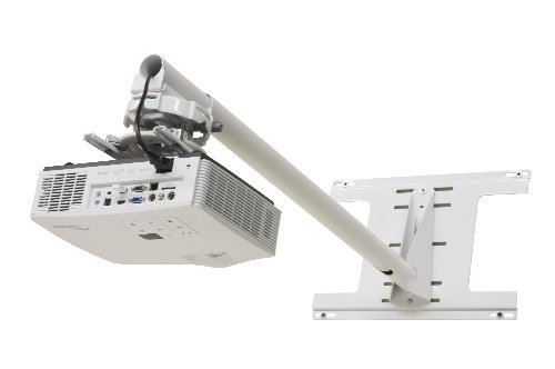 Dual Stud Univ Short Throw Wall Mount in White W/Telescoping Arm