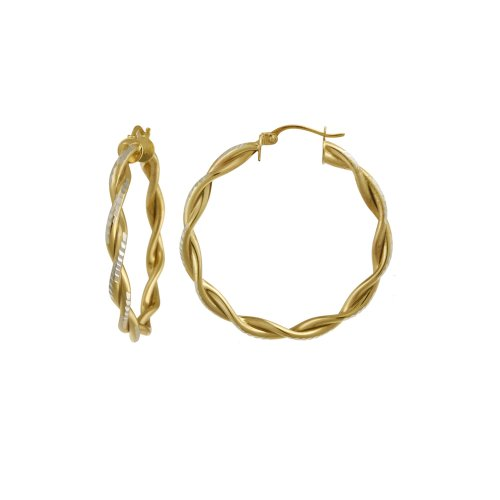 18k Yellow Gold Plated Sterling Silver Double Row Twist Hoop Earrings (1.38