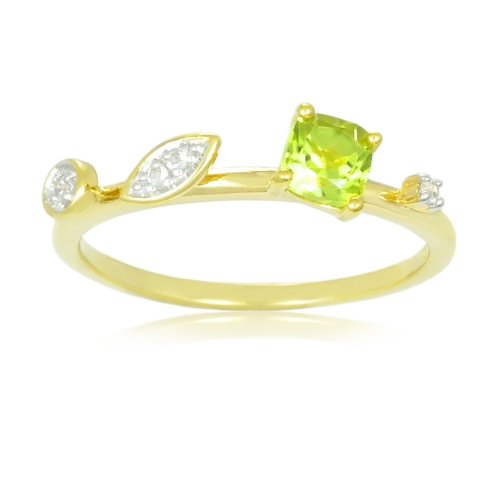 Sterling Silver with 14k Yellow Gold Plated Peridot and White Topaz Ring, Size 7