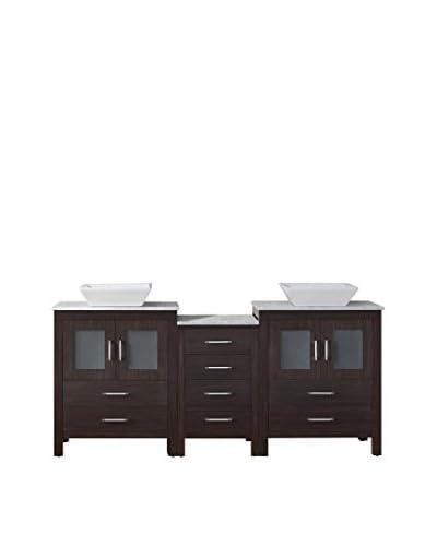 Virtu USA Dior 66 Double Bath Vanity Cabinet, Espresso/White Marble