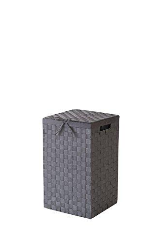 Compactor Home Storage Tex Panier à linge en rayonne tressée avec rabat et intérieur en lin Gris 30cm