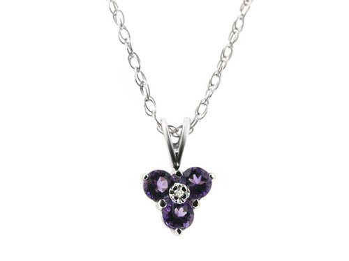9ct White Gold Amethyst & Diamond White Gold Pendant On 46cm Rope Chain