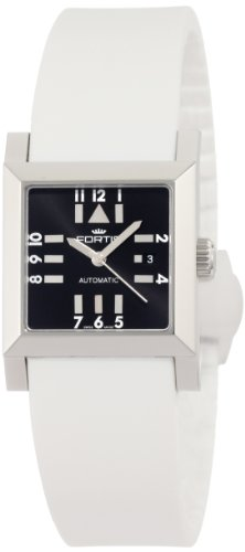 Fortis Women's 629.20.71 SI.02 Square SL Automatic Date Silicone Strap Watch