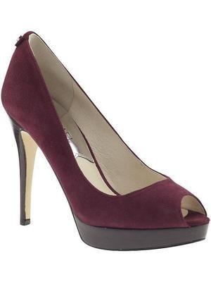 Michael Kors York Platform Womens Size 10 Burgundy Peep Toe Suede