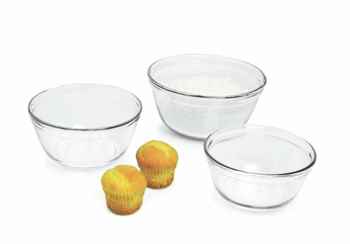 Anchor Hocking 3-Piece Mixing Bowl Set, Clear (Anchor Hocking Mixing Bowl Set compare prices)