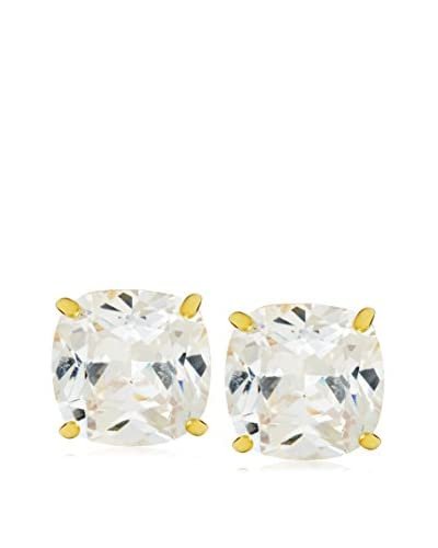 CZ by Kenneth Jay Lane Gold Clip-On Cushion Cubic Zirconia Earrings