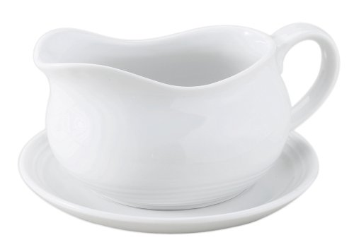 HIC 24-ounce Porcelain Hotel Gravy Boat with Saucer