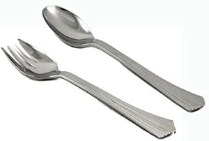 Home Value 10 Plastic Silver Disposable Large Fork and Spoon Serving Set, 20 Count (10... by HV