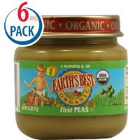 Earth's Best Organic Baby Food Stage 1 - Ages 4 Months and Up First Peas -- 2.5 oz Each / Pack of 6