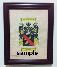 Fater Coat of Arms on 8 1/2 x 11 Parchment Paper in Classic Mahogany Frame