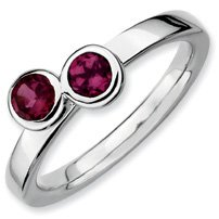 0.7ct Silver Stackable Db Round Rhodolite Garnet Ring. Sizes 5-10