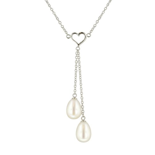 Sterling Silver 8-8.5mm White Freshwater Cultured Pearl Heart Necklace
