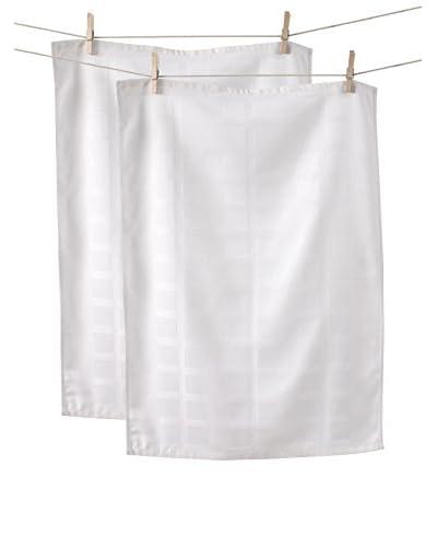KAF Home Set of 2 Solid Towels, White