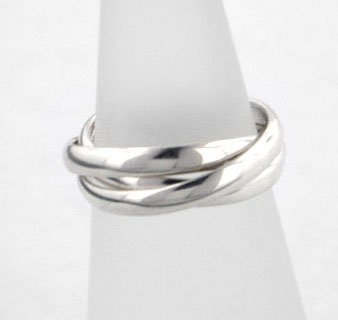 Cheap Sterling Silver 3Band Russian Wedding Ring Size 4Sizes 45
