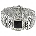 Designer Inspired Bracelet / Rhinestones / Rhodium Plated / Magnetic Closed / Width: 1 3/8 / Length: 7 1/2