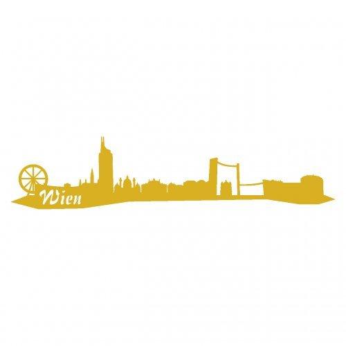 Wandtattoo Wien Skyline Wandaufkleber viele Farben und Größen sofort lieferbar in 8 Größen und 25 Farben (30x6,7cm goldmetalleffekt)