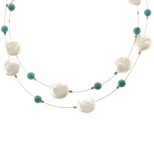 Sterling Silver Coin Freshwater Cultured Pearl and Turquoise Bead Illusion Necklace, 19